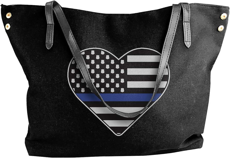 Police Thin bluee Line Hear Women'S Casual Canvas Shoulder Bag For School Big Shopping Bag