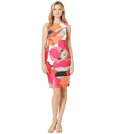 Calvin Klein Printed Scuba Sheath Dress (Hibiscus) Women