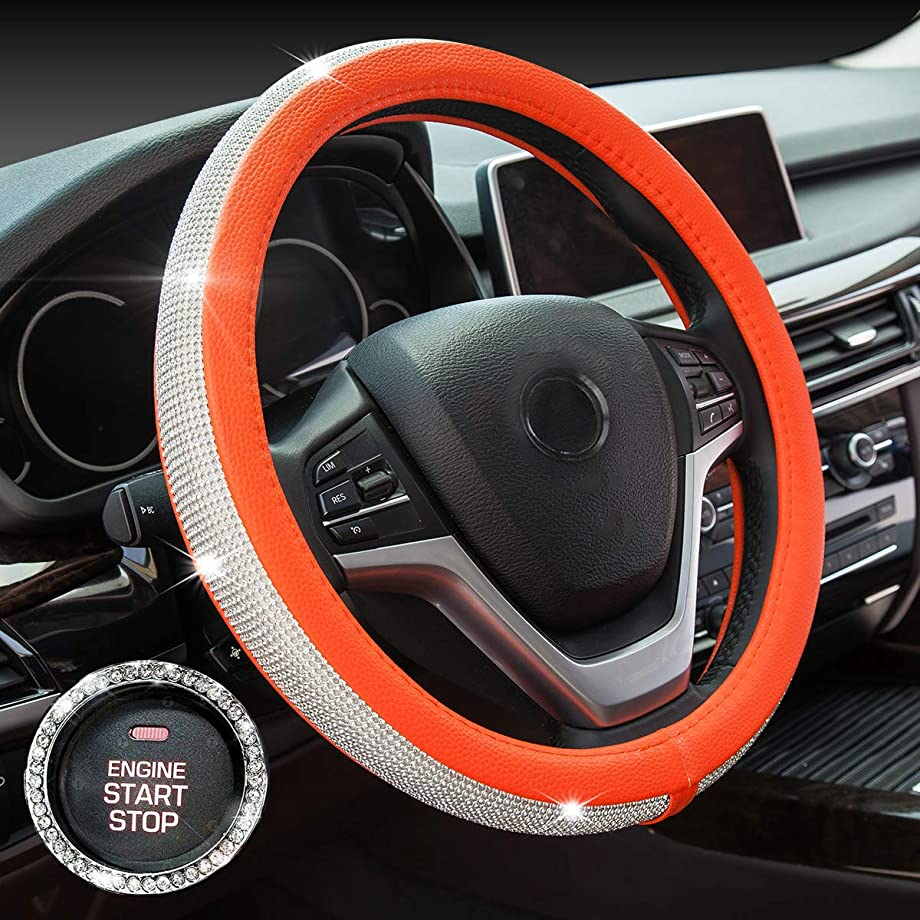 New Diamond Leather Steering Wheel Cover with Bling Bling Crystal Rhinestones, Universal Fit 15 Inch Anti-Slip Wheel Protector for Women Girls (Orange)