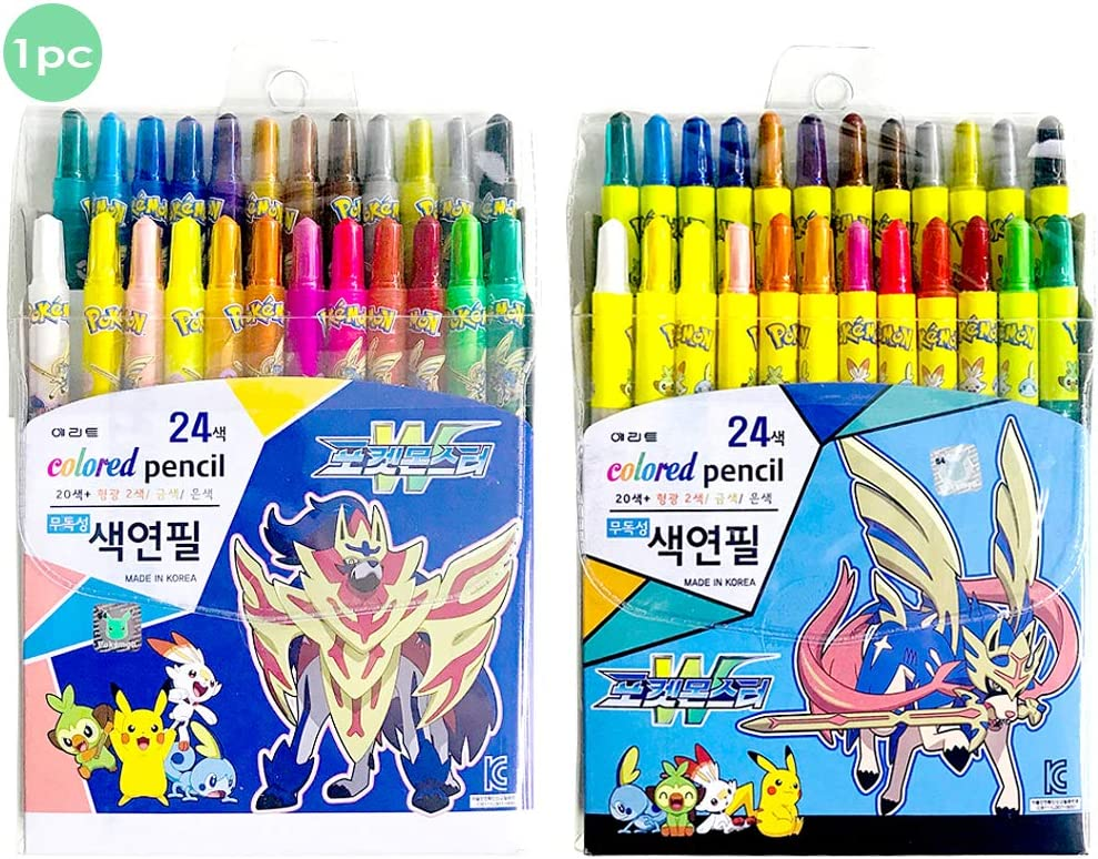 Pikachu Monster Friends Direct store W 24 Colors Twist Up Penc Max 61% OFF Colored Crayon