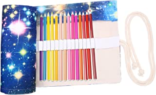 Coideal Canvas Pencil Wrap Roll Up Case Colored Pen Pencil Holder 36 Slots for Kids and Adults, Travel Drawing Coloring Pencils Roll Up Pouch Bag Organizer for Artist (Star Universe)
