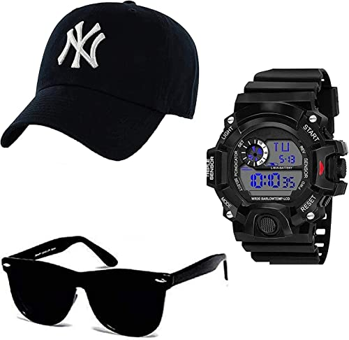 Combo Pack Of Black Analogue Stainless Steel Watch With Black Sunglass With Basboll Cap Black