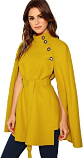 MAKEMECHIC Women's Casual Button Cloak Sleeve Poncho Cape Coat with Belt Yellow XS