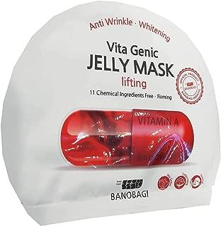 2 Mask sheets of BANOBAGI Vita Genic Jelly Mask Lifting. Anti Wrinkle, Whitening, Firming, Lifting. Jeju Cactus, Cotton 100%, No Fragrance. (30 ml./ sheet)