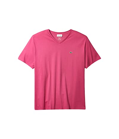 Lacoste Short Sleeve V-Neck Pima Jersey Tee (Gala) Men