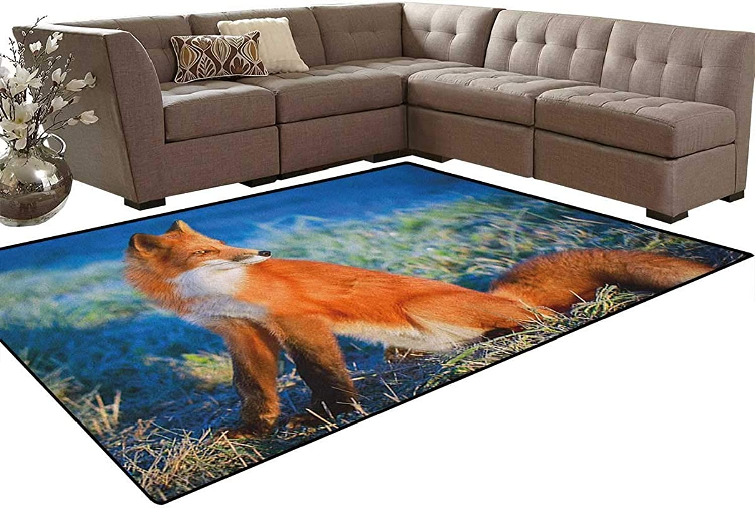 Serene Autumn Field in Cold Morning with Fox Nature Scenery Grass Perspicacious Floor Mat Rug Indoor Front Door Kitchen and Living Room Bedroom Mats Rubber Non Slip