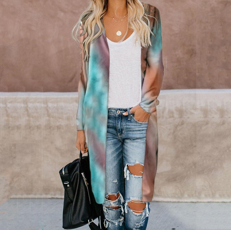 AODONG Cardigan Sweaters for Women, Leopard Open Front Cardigan Sweatshirts Tie Dye Long Sleeve Lightweight Coat Tops