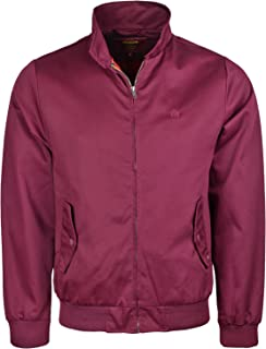 merc Harrington Jacket Mens Classic Vintage Retro Coat Tartan Lining (Large, Wine)