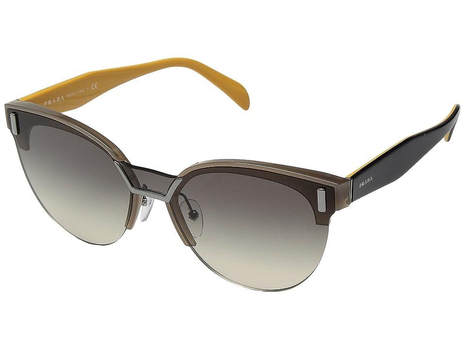 Image of Prada 0PR 04US (Opal Brown/Grey Gradient Yellow) Fashion Sunglasses