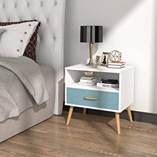 Lifewit Nightstand Bedroom Table Bedside Table, 1 Fabric Drawer, Chipboard and Wooden Legs, Sturdy and Durable, White