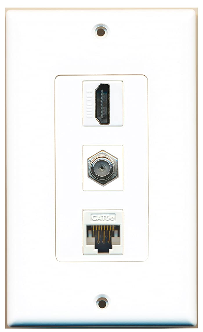 RiteAV - 1 Port HDMI and 1 Port Coax Cable TV- F-Type Cat5e Ethernet Decorative Wall Plate - White