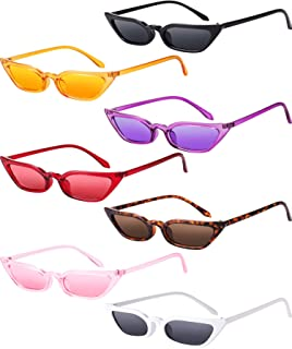 Zhanmai Retro Small Cat Eye Sunglasses Vintage Square Shade Women Cute Skinny Cat Eye Eyewear (7 Pairs)