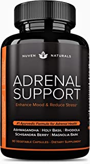 Adrenal Support — Natural Adrenal Fatigue Supplements, Cortisol Manager with Ashwagandha Extract, Rhodiola Rosea, Holy Bas...