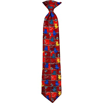 Boys' Easter Bunnies and Eggs Grid 14 inch. Clip-On Neck Tie - Red