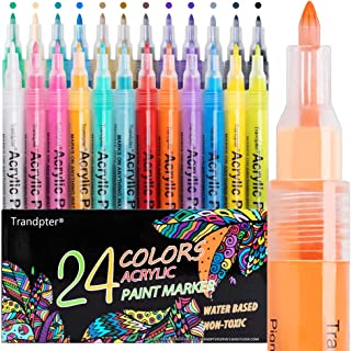 Acrylic Paint Pens, Acrylic Paint Markers Set for Rocks Painting, Craft, Canvas, Wood, Ceramic. 24 Colors Extra Fine Tip W...