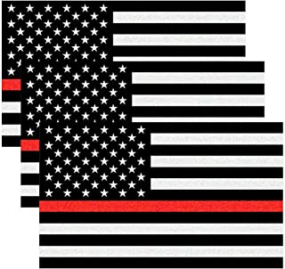Creatrill Reflective Tattered Thin Red Line Decal Matte Black – 3 Packs 3x5 in. American USA Flag Decal Stickers for Cars, Trucks, Hard Hat, in Support of Firefighters and EMTs (1)