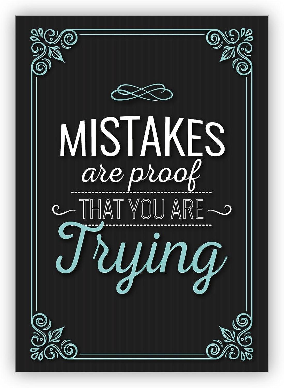 Glückwunschkarten Set (16Stk) Tolle, motivierende Retro Motto Grußkarte  Mistakes are proof that you are trying B073XK4W4S | Überlegen
