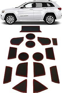 GRIDREADY 2014-2020 Jeep Grand Cherokee Cup Holder Insert & Center Console Door Liner Trim Mats | 16pc Custom Fit Non Slip Storage Bin Mat Set | Grand Cherokee Interior Accessories
