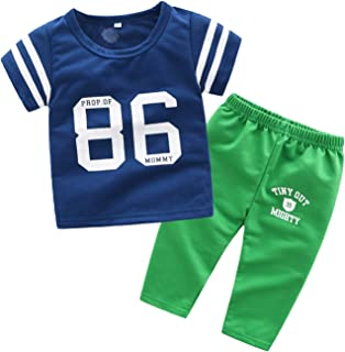 Fairy Baby Baby Boys No.86 Summer Casual T-Shirt Tops and Pant Set Cotton Outfit Clothes