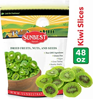 SUNBEST Dried Kiwi Slices in Resealable Bag, Kosher Certified (3lbs)