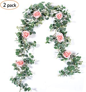 TOPHOUSE 2 pcs Eucalyptus Garland with 6pcs Pink Roses 6Ft Artificial Vines Faux Silk Greenery Eucalyptus Leaves for Wedding Backdrop Wall Decor