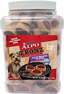 Purina ALPO T-Bonz Filet Mignon Flavor Steak-Shaped Dog Treats, 40-Ounce Canister, Pack of 2