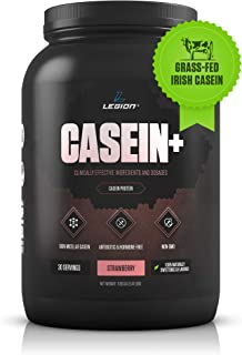 Legion Casein+ Strawberry Pure Micellar Casein Protein Powder-Non-GMO Grass Fed Cow Milk, Natural Flavors & Stevia, Low Carb, Keto Friendly - Best Pre Sleep (PM) Slow Release Muscle Recovery Drink 2lb