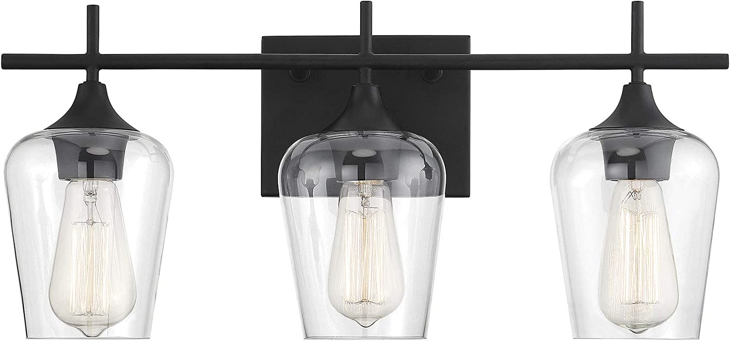 Savoy House 8-4030-3-BK Octave 3-Light Bathroom Vanity Light in a Black Finish with Clear Glass (21  W x 9  H)