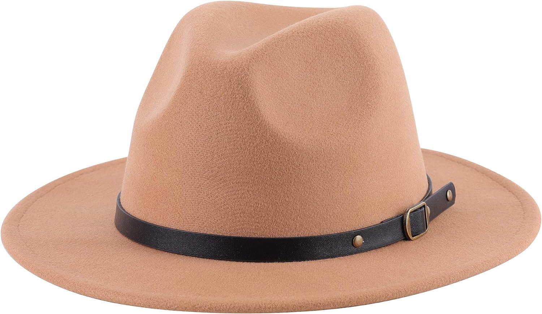 Lanzom Women Retro Wide Brim Wool Fedora Hat with Belt Buckle Hat