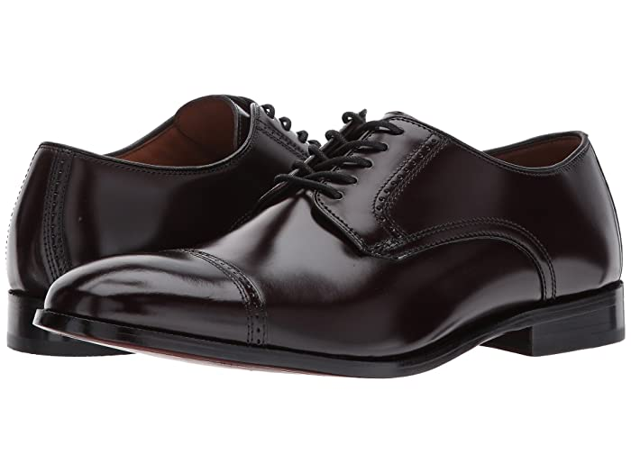 Johnston and Murphy  Bradford Dress Cap Toe Oxford (Burgundy Brush-Off) Mens Lace Up Cap Toe Shoes