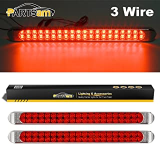 "Partsam Waterproof 17"" Inch High Power 40 LED Red Utility Trailer Truck RV Stop Tail Turn 3rd Brake Marker Identification Light Bar w/Chrome Bezel (Pack of 2)"