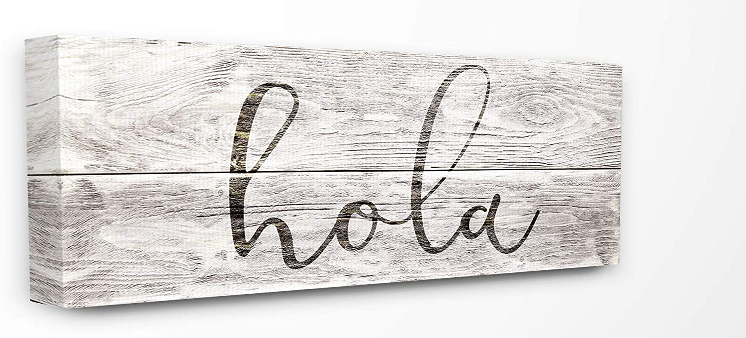 Stupell Industries Home Rustic Grey and White Hola Planked Look Typography Stretched Canvas Wall Art, Multicolor