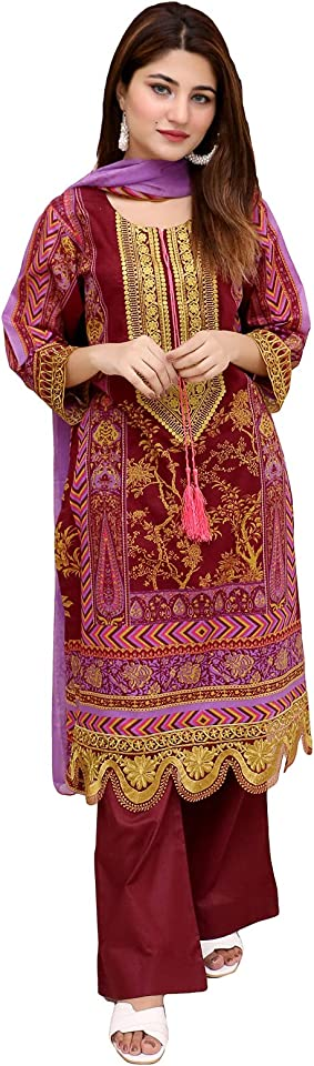 Ready to Wear Embroidered Lawn Pakistani Dresses for Women Shalwar, Kameez with Dupatta - Three Piece Set
