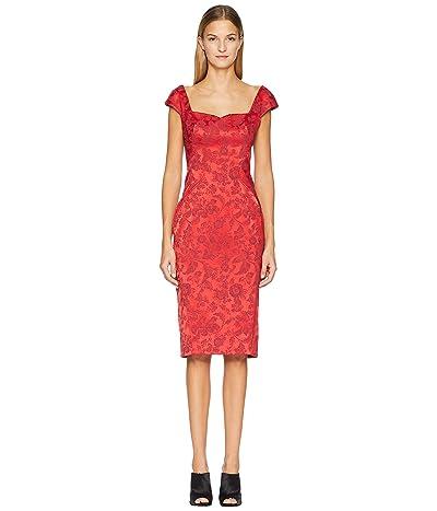 Zac Posen Party Jacquard Sleeveless Dress (Scarlet) Women