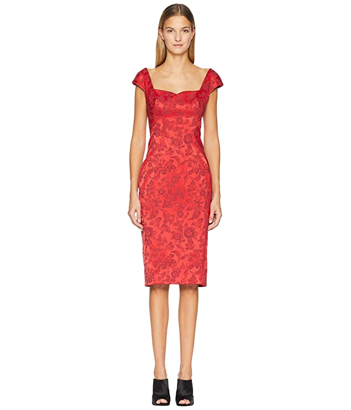 Zac Posen Party Jacquard Sleeveless Dress (Scarlet) Women's Dress