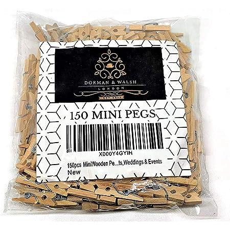 150PCS mini piquets en bois, Dorman et Walsh mini pinces à linge en bois pour la tenue de photos, mini pinces à linge en bois,…