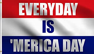 DMSE Everyday is 'Merica Day Murica Flag 100% Polyester Flag UV Resistant Perfect for Tailgates Dorms College Football Fraternities Parties Large Sporting Events (3' X 5' Ft Foot)