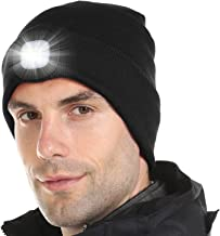 Tutuko LED Beanie Cap Lighted, USB Rechargeable Hands Free 4 LED Headlamp Cap, Unisex Warm Winter Knitted Hat with LED Flashlight for Hiking, Biking, Camping, Auto Repair, Walking at Night