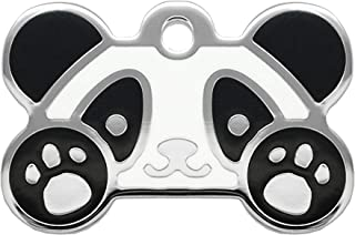 Pet Identification Tag [Personalized Free Custom Engraved] Dog and Cat Collar ID Tags | Panda Grind Enamel Bone Tag, 25.4mm X 38.10mm (Large)