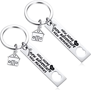 Hazado 2 Pcs Housewarming Gifts for New Home Owner House Warming Presents for Couple New Adventure New Memories Keychains Set