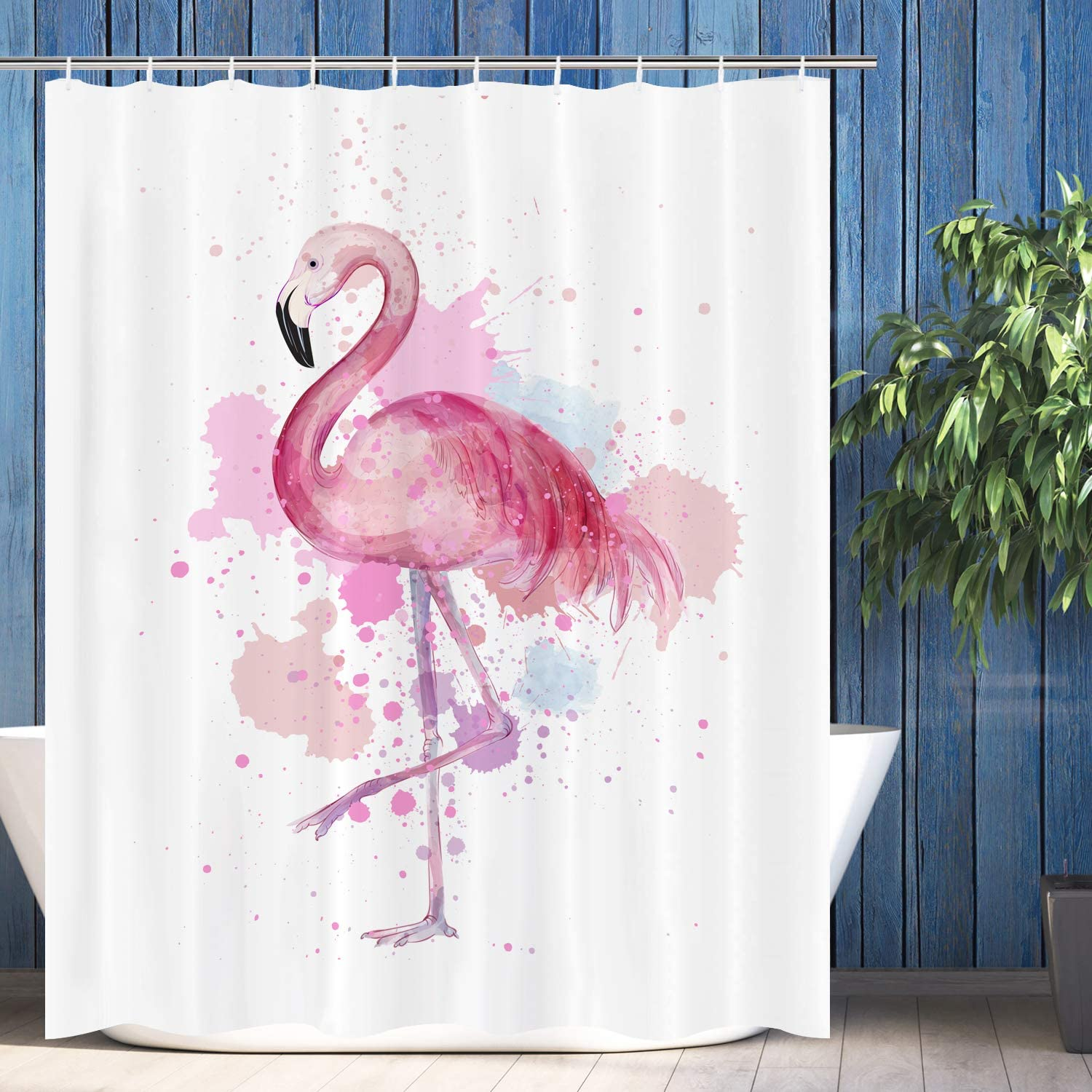 VIMMUCIR Flamingo Shower Curtain, Retro Tropical Flamingo Print with Watercolor Splash Polyester Bathroom Curtains for Home Decor, Stalls and Bathtubs, Water Repellent, 12 Hooks Included, 60