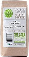 Tiny Footprint Coffee - Fair Trade Organic Peru APU Medium Roast | Whole Bean Coffee | USDA Organic | Fair Trade Certified | Carbon Negative | 16 Ounce