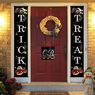 3 PCS Funny Trick or Treat Halloween Banner Door - Halloween Hanging Sign for Outdoor Home Office Porch Front Halloween Decorations to Welcome