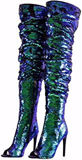 CAMSSOO Womens Fashion Peep Toe Sparkle Sequins Thigh High Over Knee Pupms Heel Christmas Party Dance