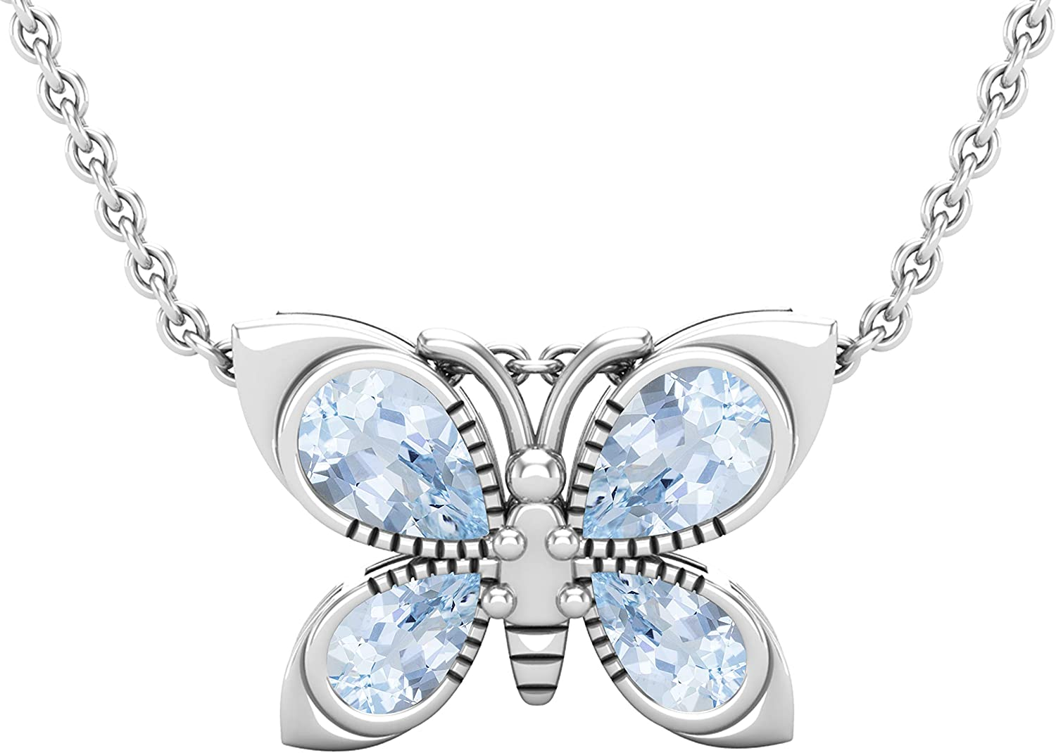 Available in 10K Gold /& 925 Sterling Silver Silver Chain Included Dazzlingrock Collection Pear Gemstone Ladies Fashion Butterfly Pendant