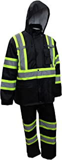 RK Safety TBK66 Class 3 Rain suit, Jacket, Pants High Visibility Reflective Black Bottom with X Pattern(Small, Black)