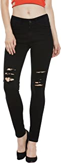Miss Chase Women's Black Slim Fit Ripped Denim Jeans