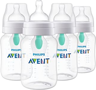 Philips AVENT Anti-Colic Baby Bottles with AirFree Vent, 9Oz, Clear, SCY703/04, 4 Count