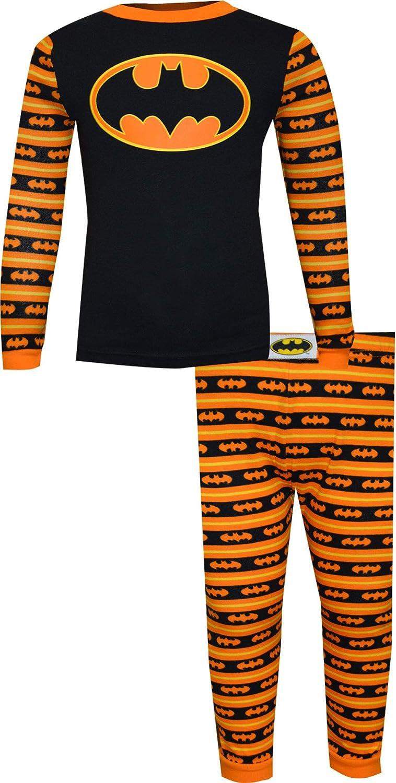DC Comics Superhero Toddler 2 Piece Cotton Tight Fit Pajama Set, Batman Orange Stripe, 2T