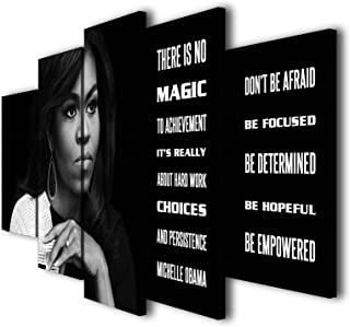 Susu Art - 5 Pcs Michelle Obama Quotes There is no Magic Canvas Giclee Print Painting Picture Wall Art Home Decor Gifts (with Framed, Size 1: 8x14inx2pcs, 8x18inx2pcs, 8x22inx1pc)